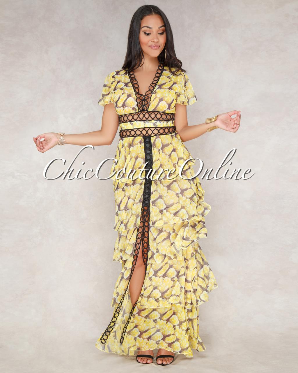 Sioban Yellow Floral Black Crochet Tier Maxi Dress