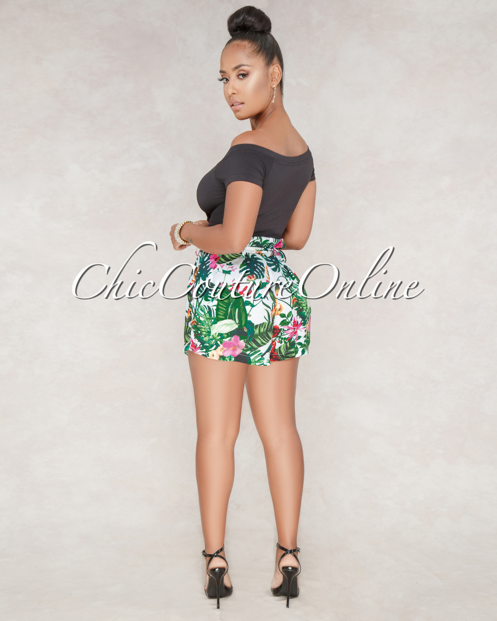 Marline Off-White Floral Print High-Waist Belted Shorts