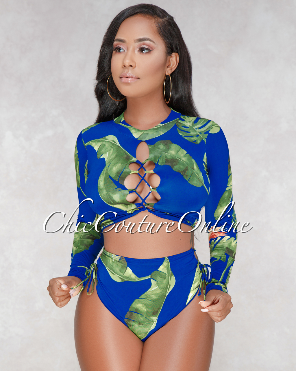 St Lucia Royal Blue Leaf Print Long Sleeves Swimsuit