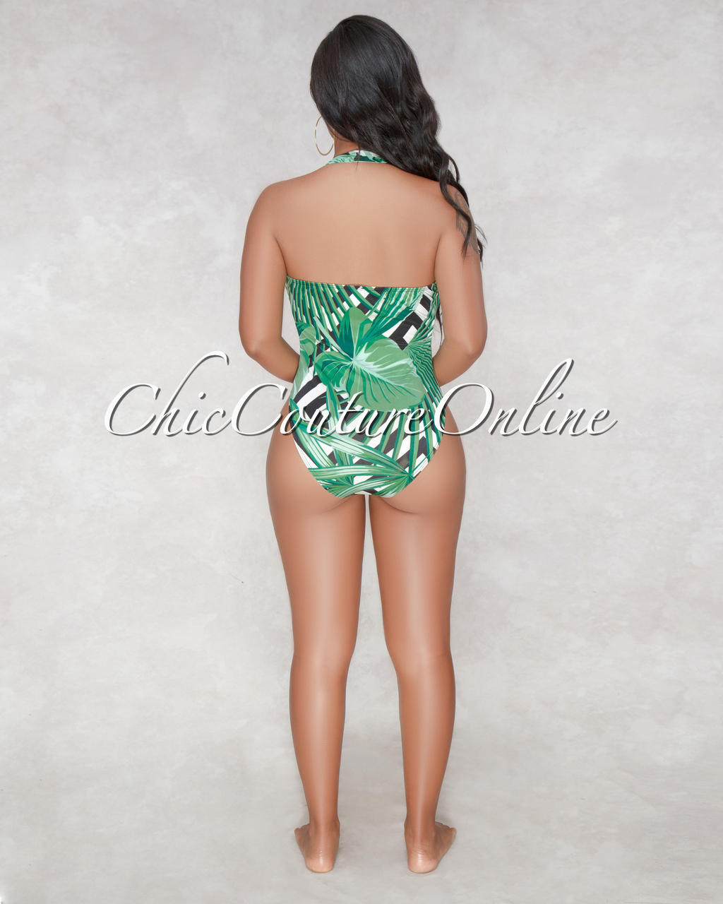 Curazao Black White Green Leaf Print Swimsuit Cover-up/Set