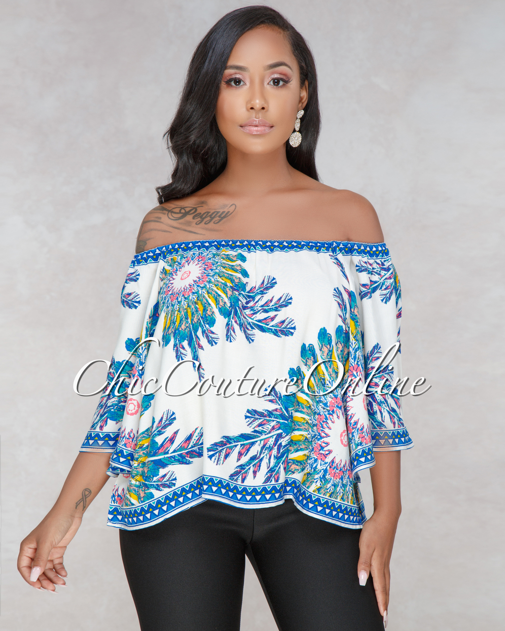 Shena Ivory Multi Color Feather Print Off-The-Shoulder Top