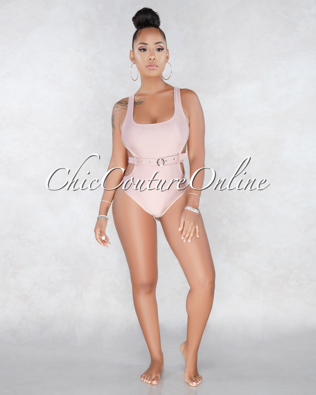 Isla Blush Cut Out Belted One Piece Swimsuit