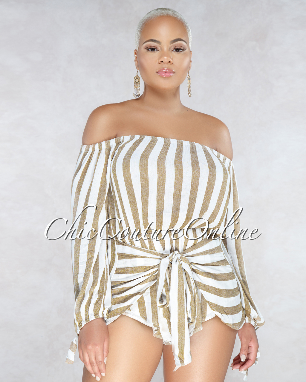 Chantal Taupe White Stripes Off The Shoulder Romper