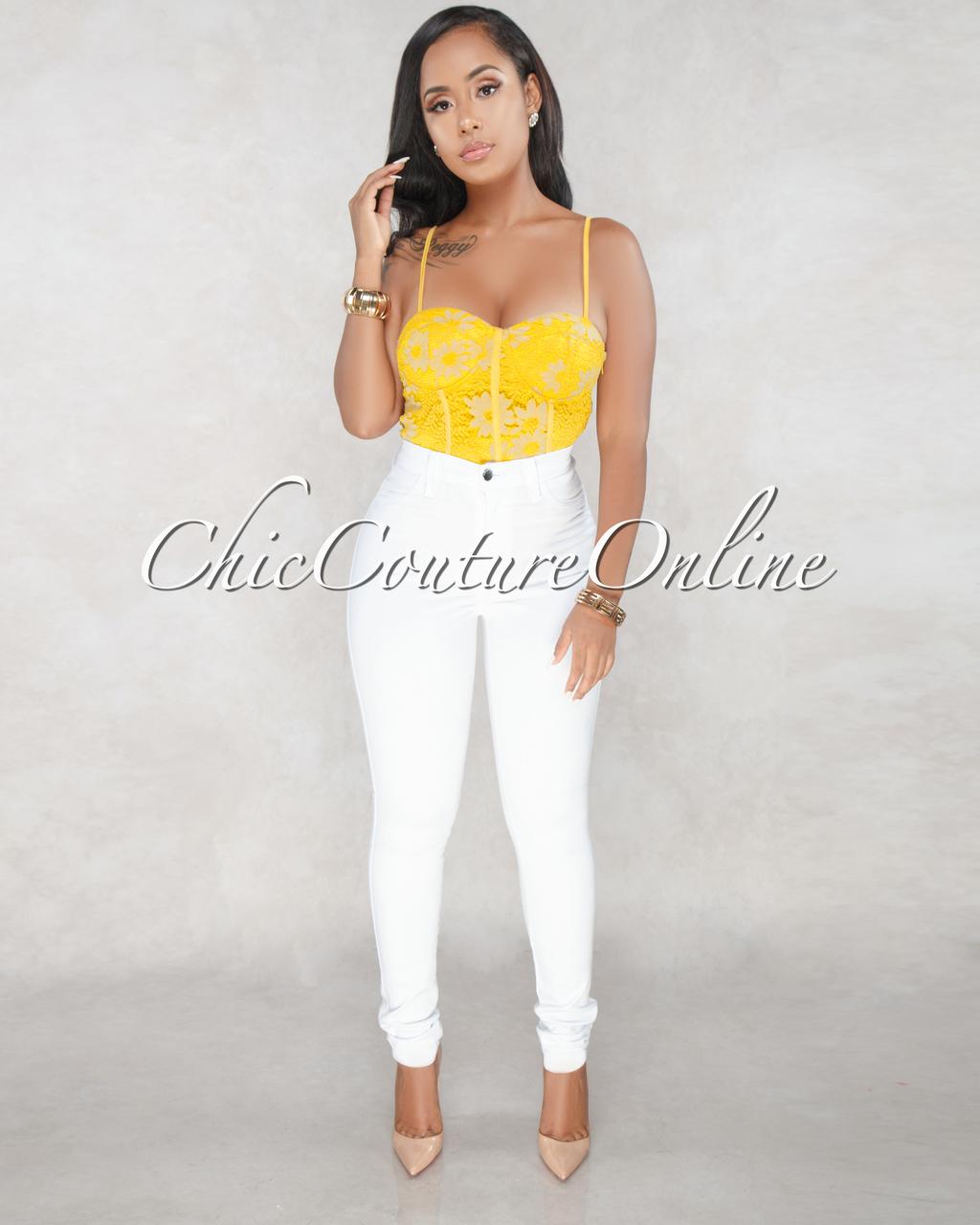Annia Yellow Lace Bodysuit