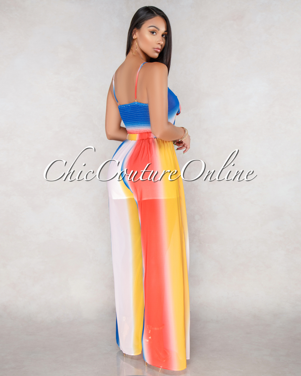 Essence Ombre Multi Color Stripes Tie Jumpsuit
