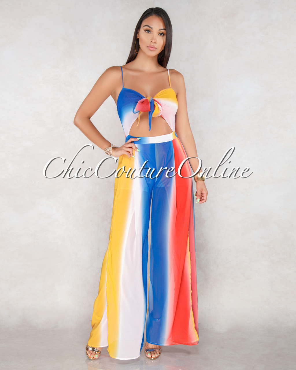 Essence Ombre Multi Color Stripes Tie Jumpsuit