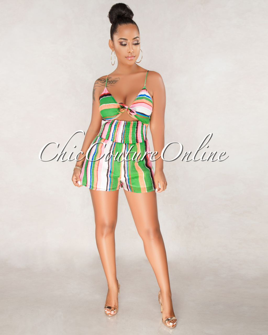 Isabel Green Multi Color Stripe Print Romper
