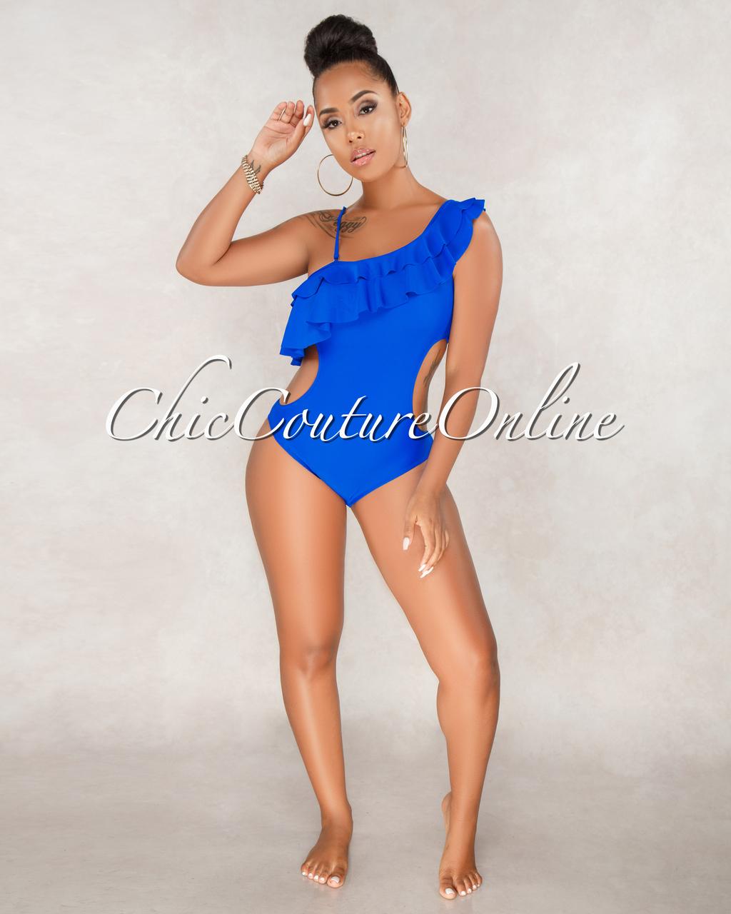Nivea Royal-Blue One Shoulder Piece Swimsuit