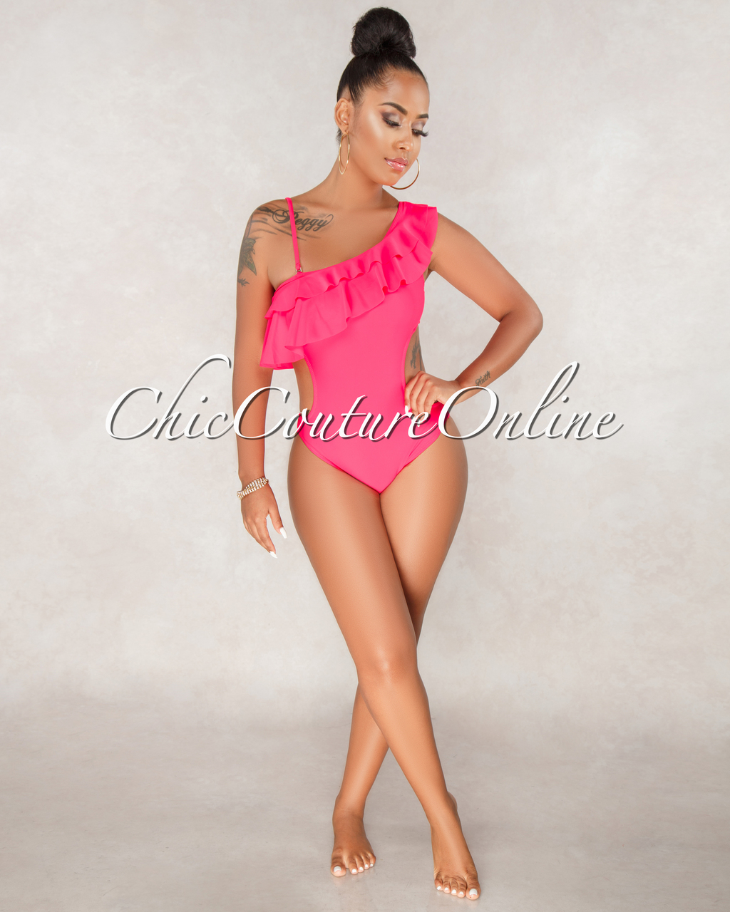 Nivea Neon Pink One Shoulder Piece Swimsuit