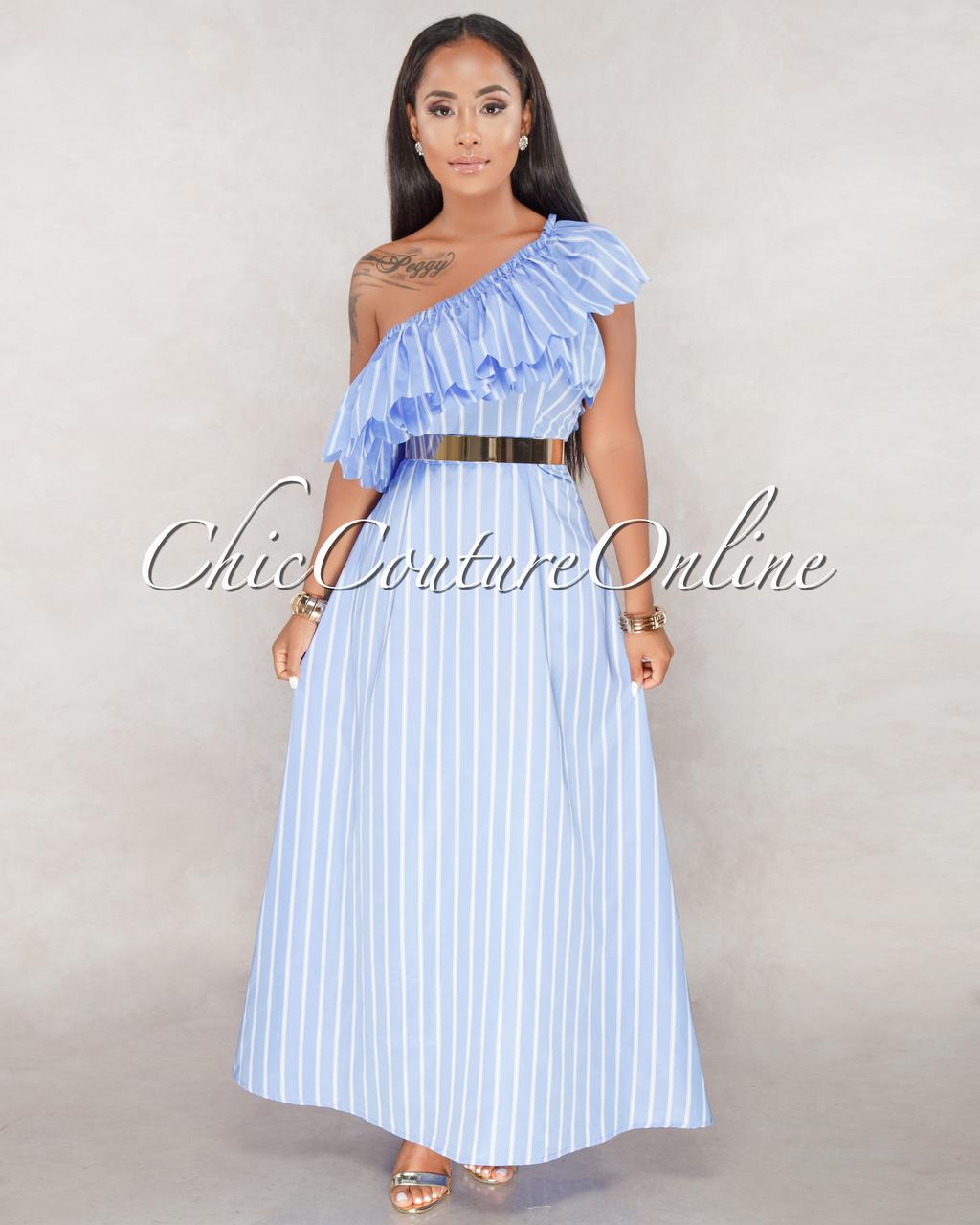 Nina Baby Blue White Stripes Ruffle Sleeve Maxi Dress