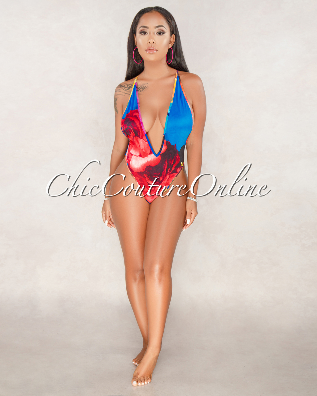 Talisman Turquoise Floral Print Swimsuit Cover-up/Set