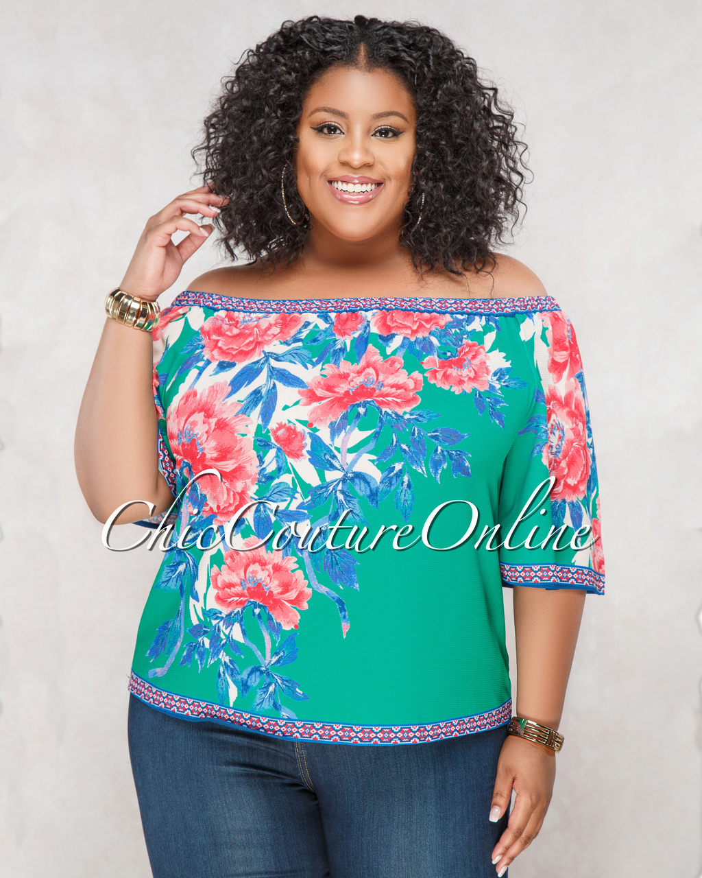 Zuly Green Blue Floral Print CURVACEOUS Top