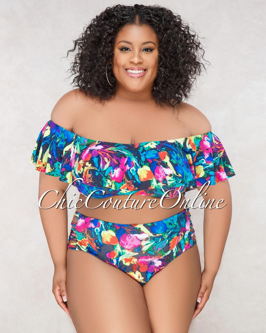 Judy Black Multi Color Floral Print CURVACEOUS Two Piece Swimsuit