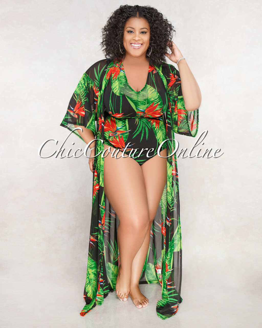 Aruba Green Red Floral CURVACEOUS Cover-Up Swimsuit