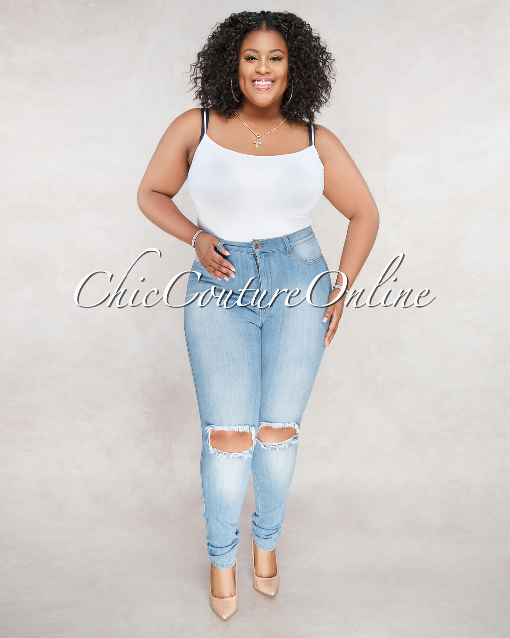Shana Light Wash Denim High-Waist Destroyed CURVACEOUS Jeans