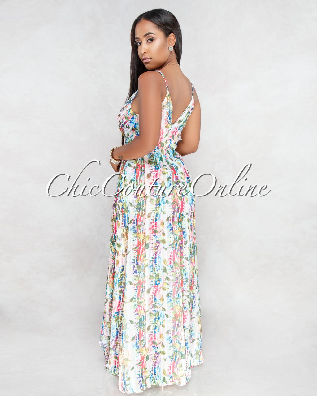 Azalea Ivory Multi Color Print Romper Maxi Dress