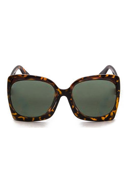BB Oversized Tortoise Big Frame Green Lens Sunglasses