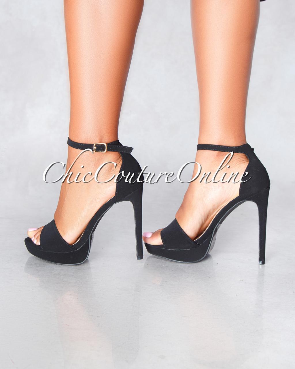 Ligia Black Suede Ankle Strap High Heel Sandals