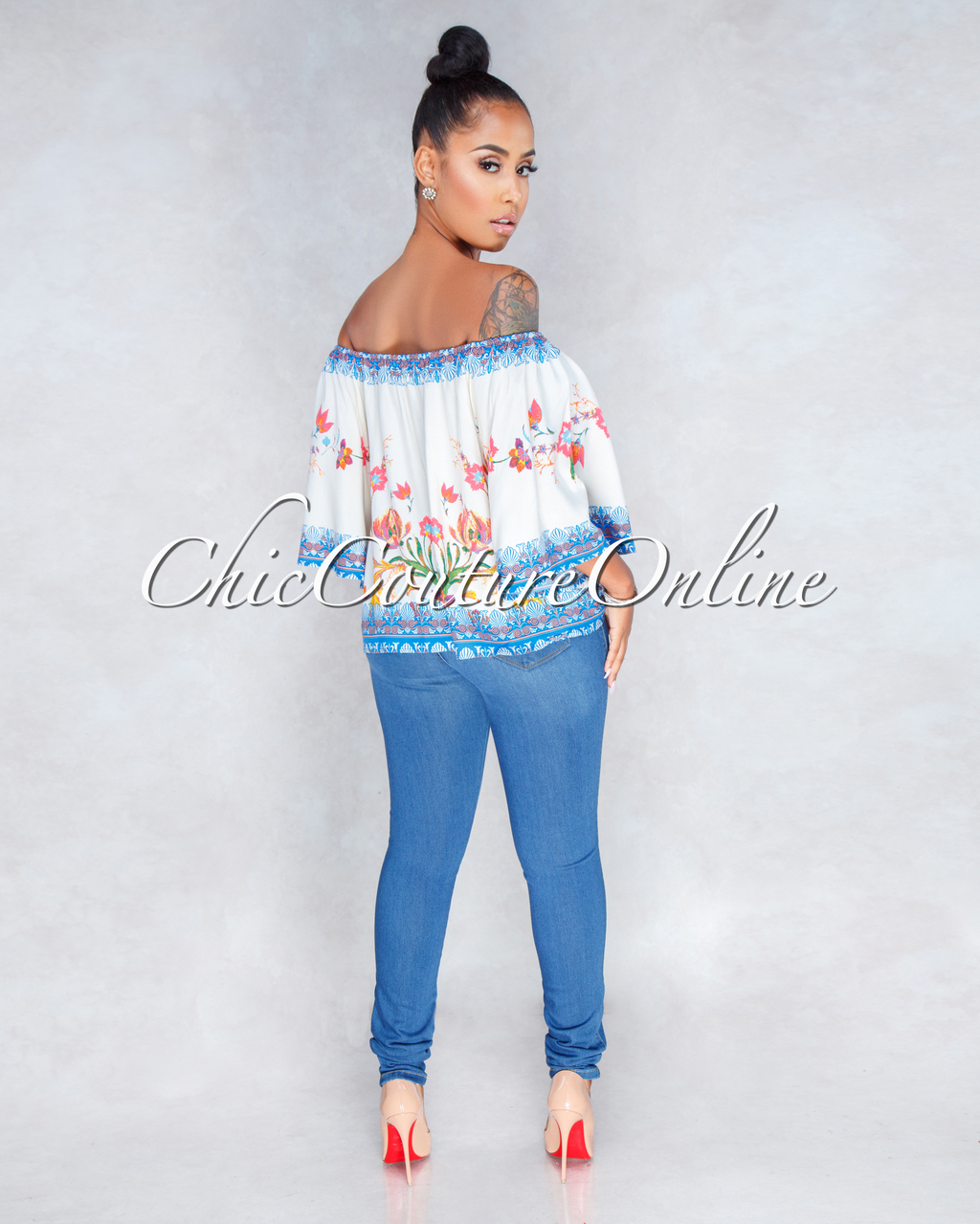 Tory Ivory Blue Printed Off The Shoulder Top