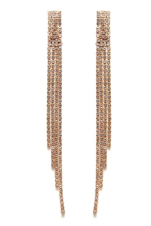 Disco Golden Long Rhinestone Pave Clip Dangle Earrings
