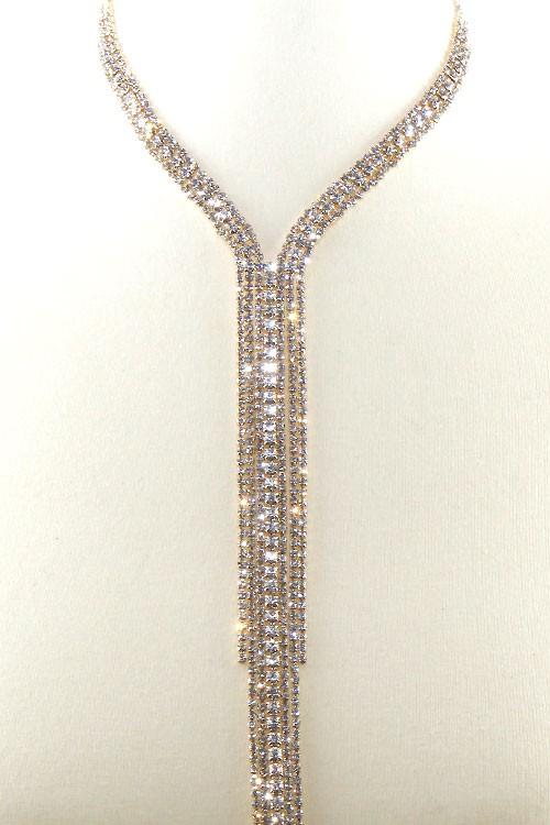 Fever Golden Crystal Choker Y Necklace Set