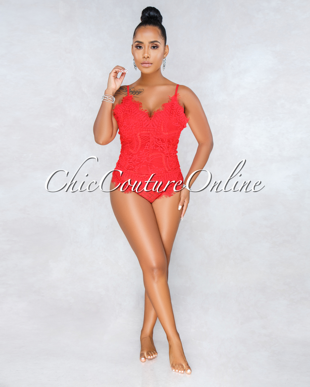 Thandie Red Lace Scallop Bodysuit