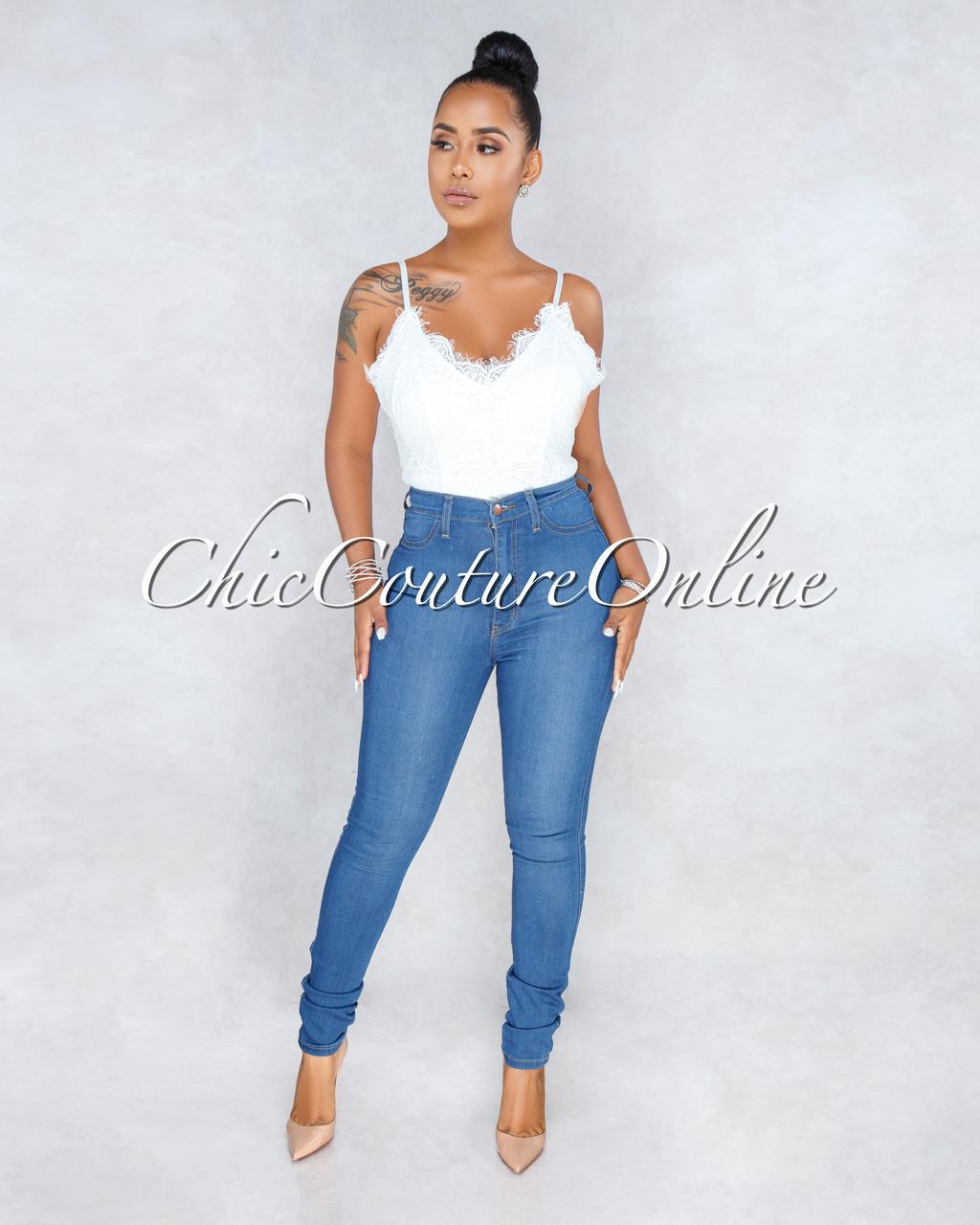 Thandie Off-White Lace Scallop Bodysuit