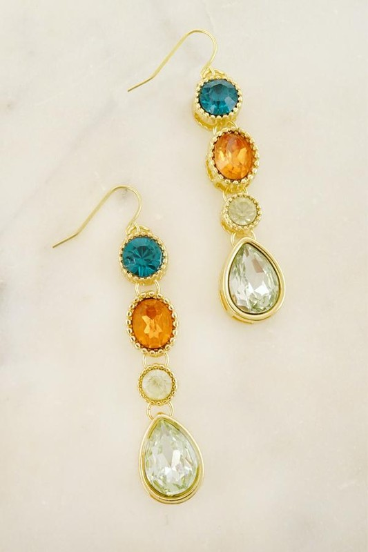 Kelis Multi Color Golden Dangle Earrings