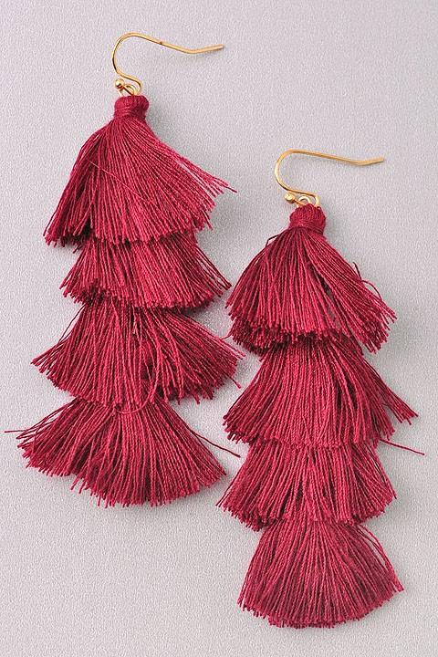 Sila Burgundy Red Long Tassel Earrings