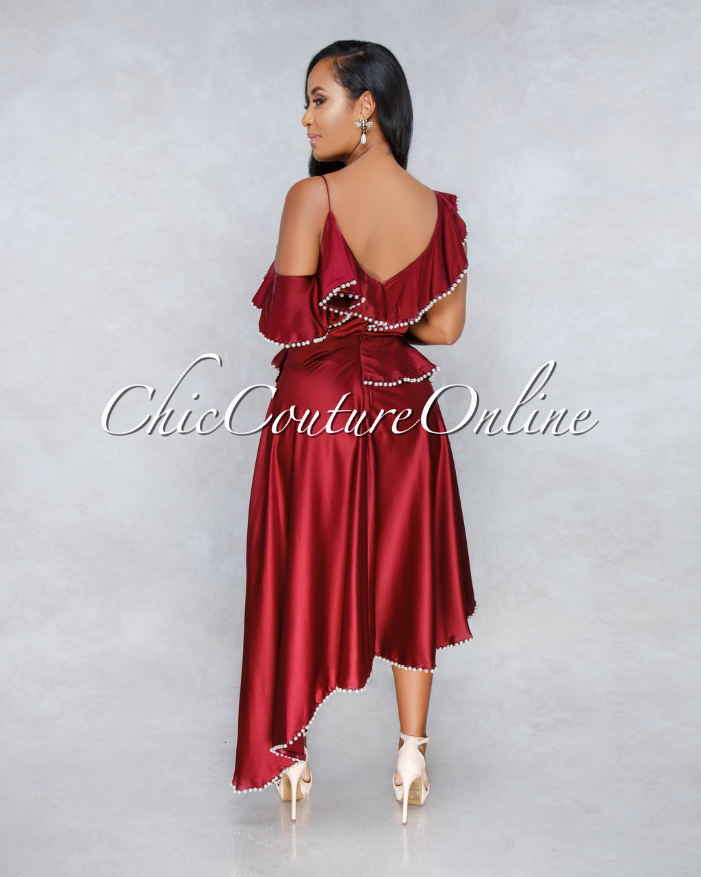 Suhaily Wine Red Pearl Accent Hi-Lo Dress