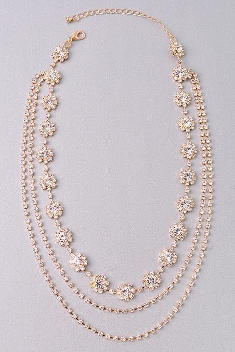 Saydie Golden Multi Layers Rhinestone Necklace