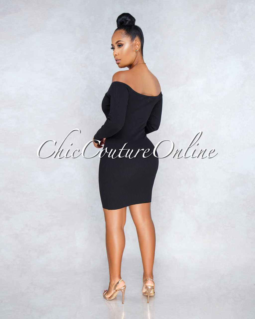 Milagros Black Ribbed Gold Buttons Dress