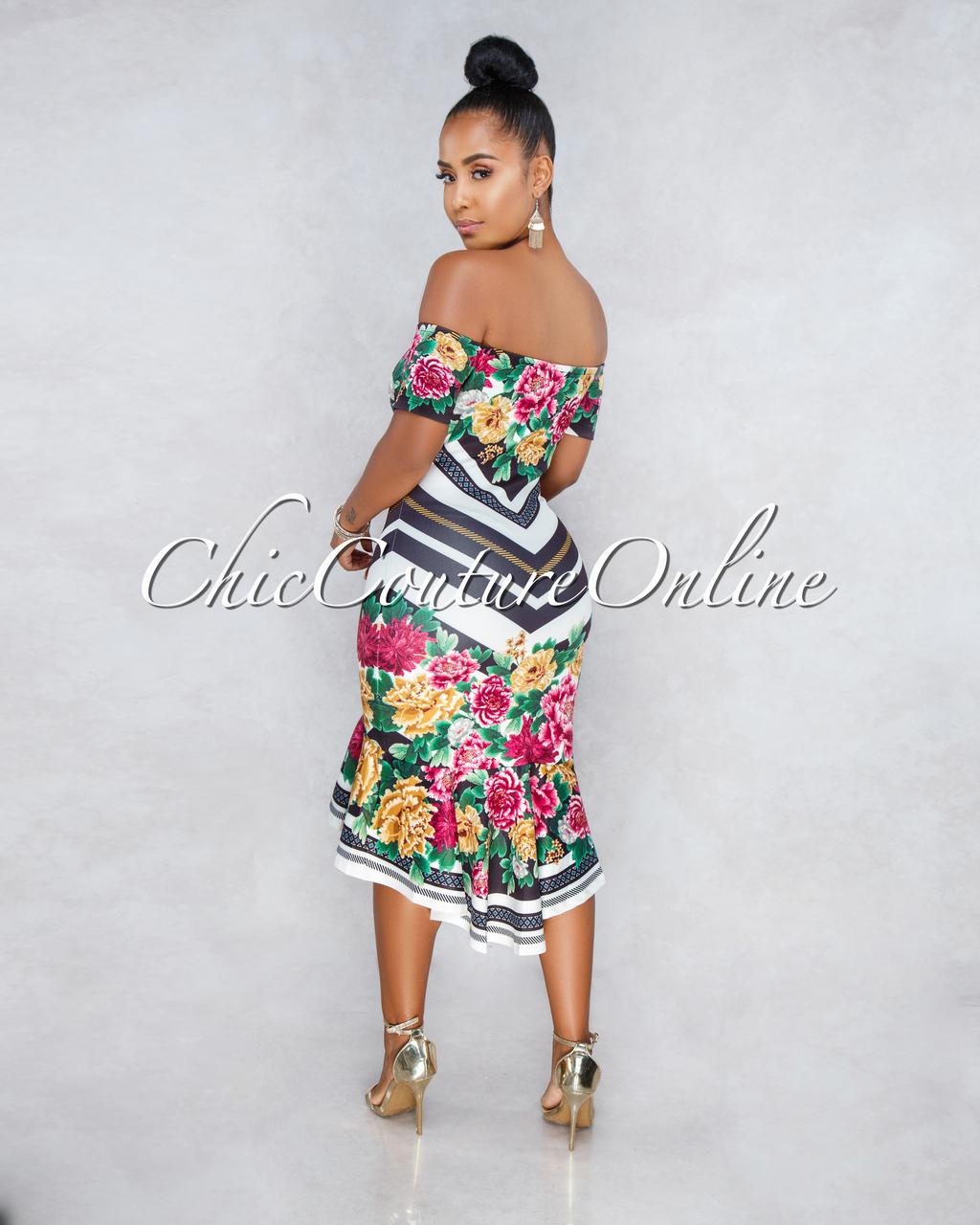 Demi Off-White Black Stripes Floral Print High-Low Dress