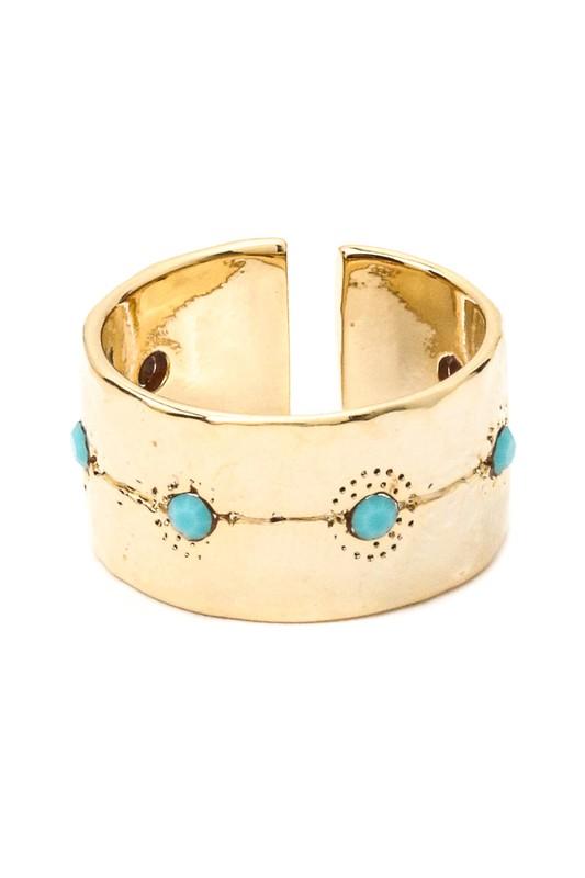 Savannah Golden Turquoise Open Ring