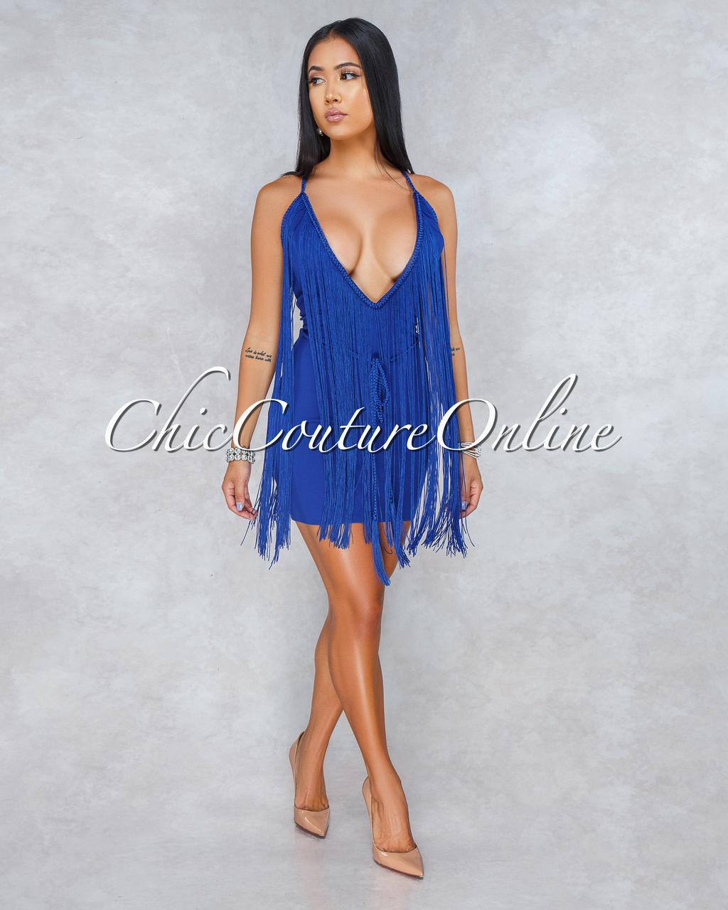 Bentley Deep Royal Blue Low V-Neck Fringe Dress