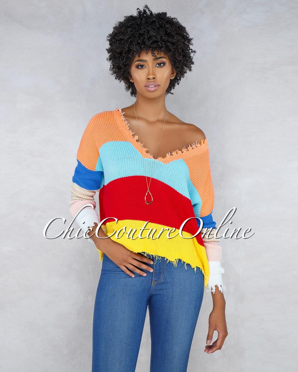 Bertha Multi-Color Stripes Knit Sweater