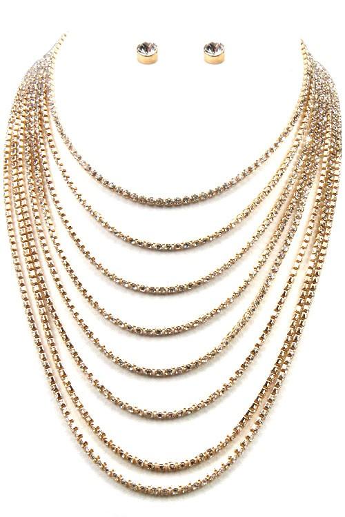 Lorra Golden Crystal Pavé 8 Strand Necklace