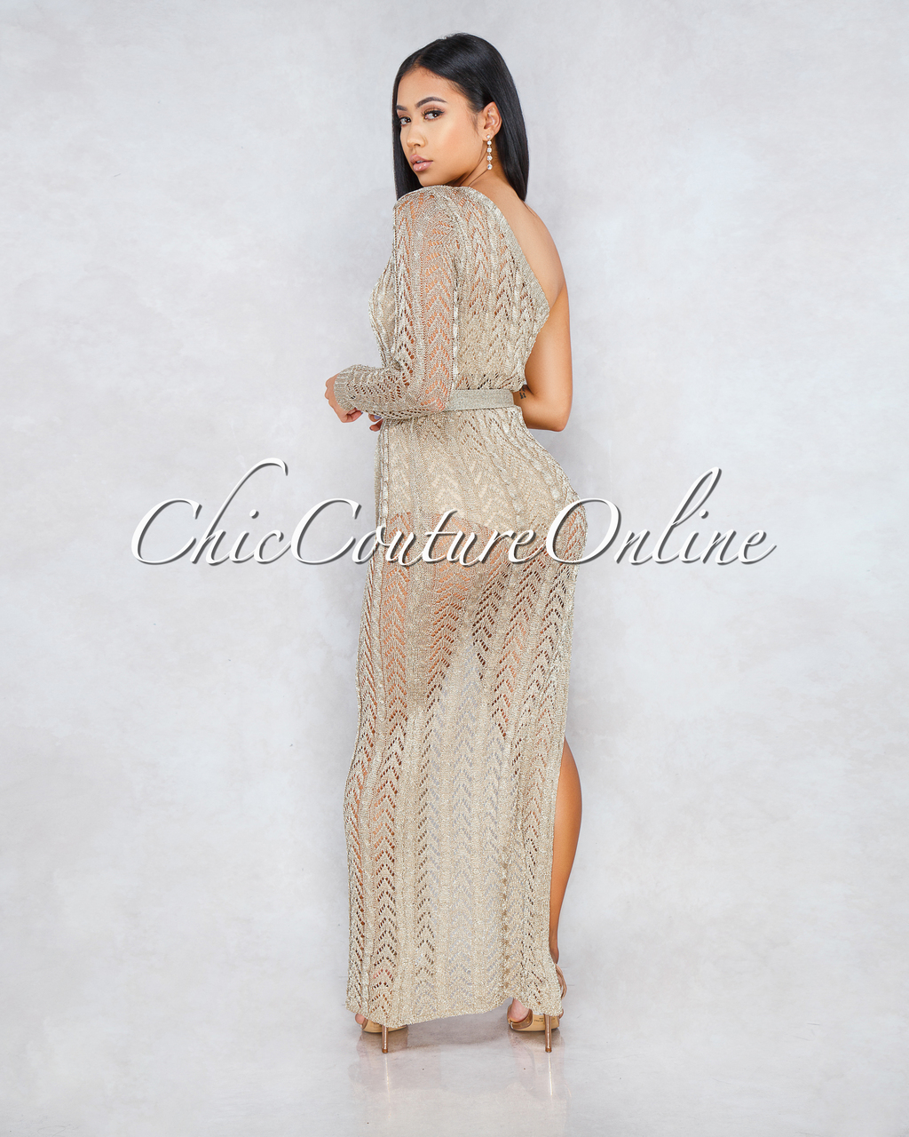 Missouri Golden Knit See Trough Single Sleeve Maxi Dress With Belt
