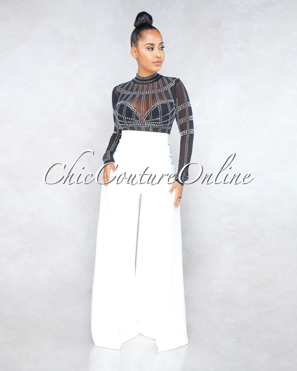 Dixie Black Mesh Rhinestone Embellishment Bodysuit