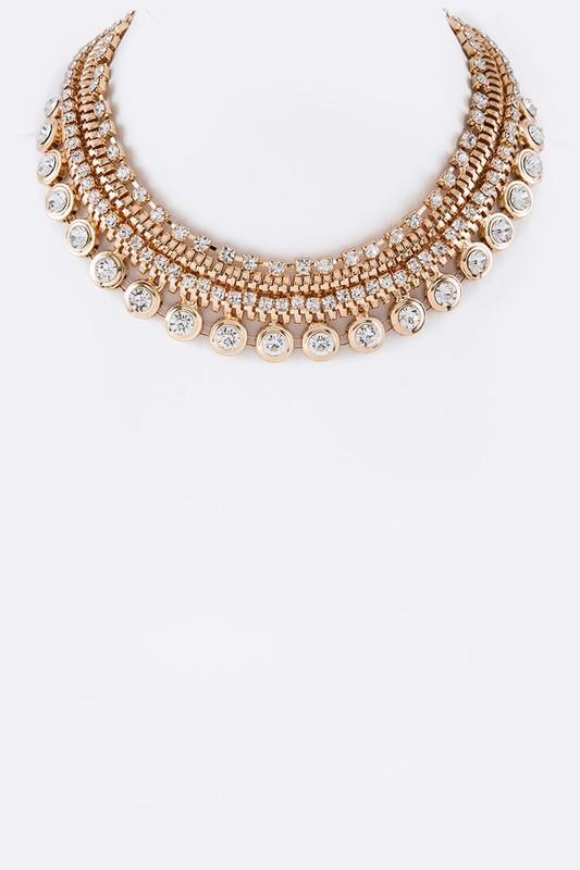 Maranna Golden Crystal Stones Pavé Statement Necklace