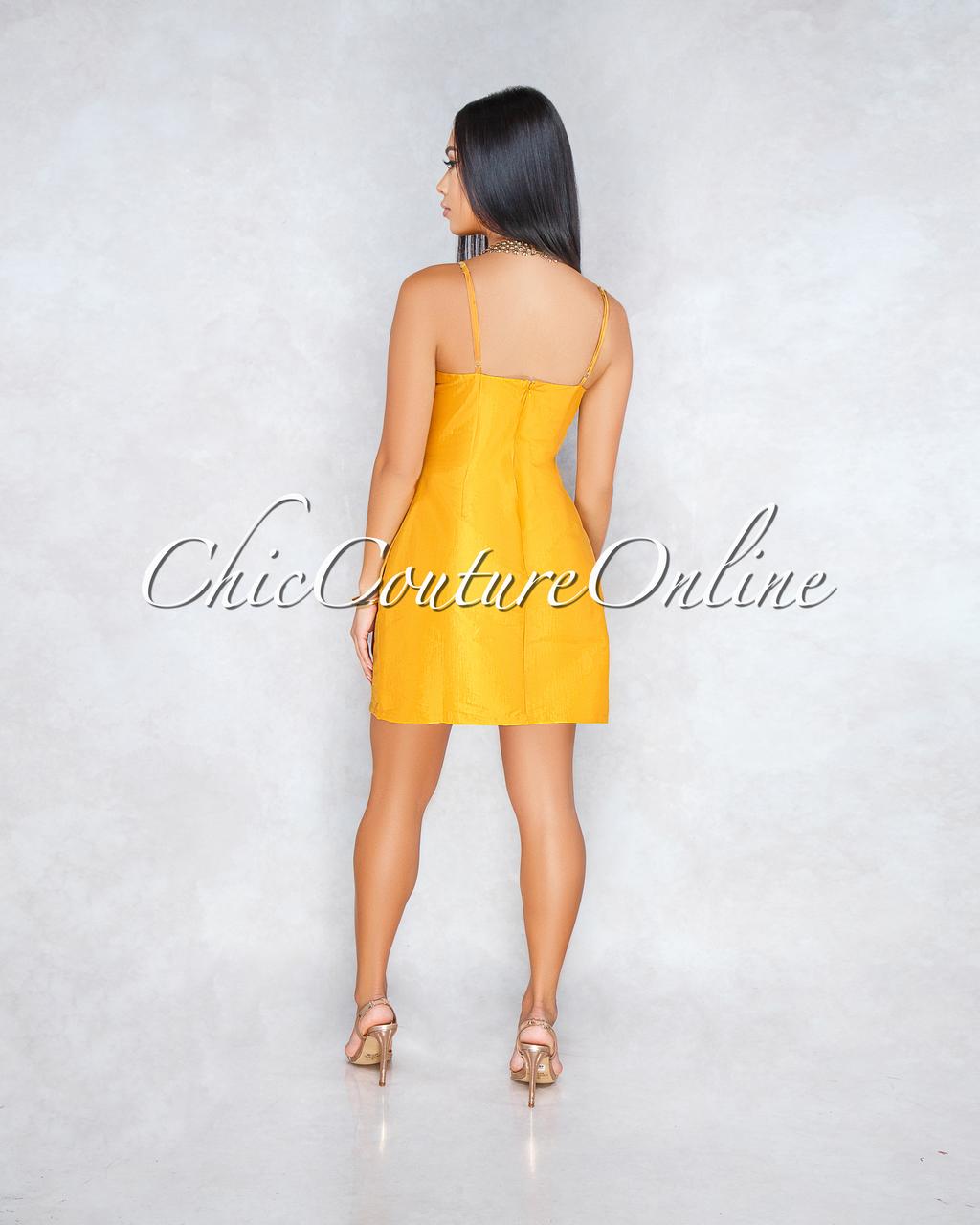 Berry Mustard Yellow Silky Pockets Mini Dress
