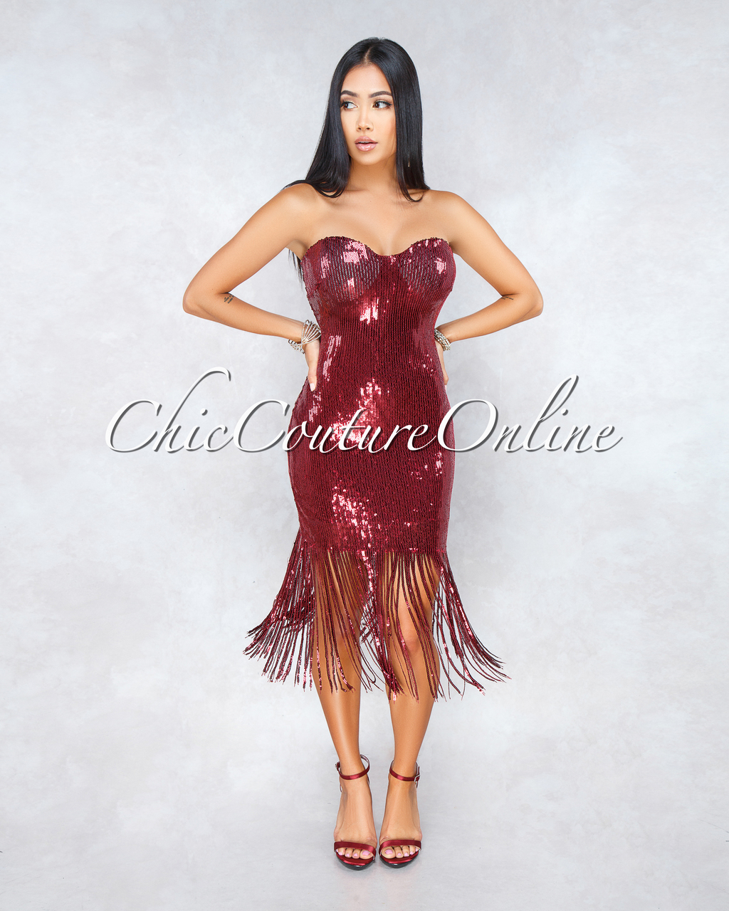 Olga Wine Red Sequins Fringe Midi Strapless Dress