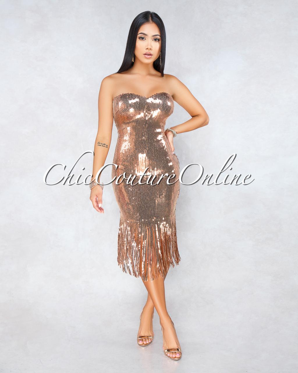Olga Bronze Sequins Fringe Midi Strapless Dress