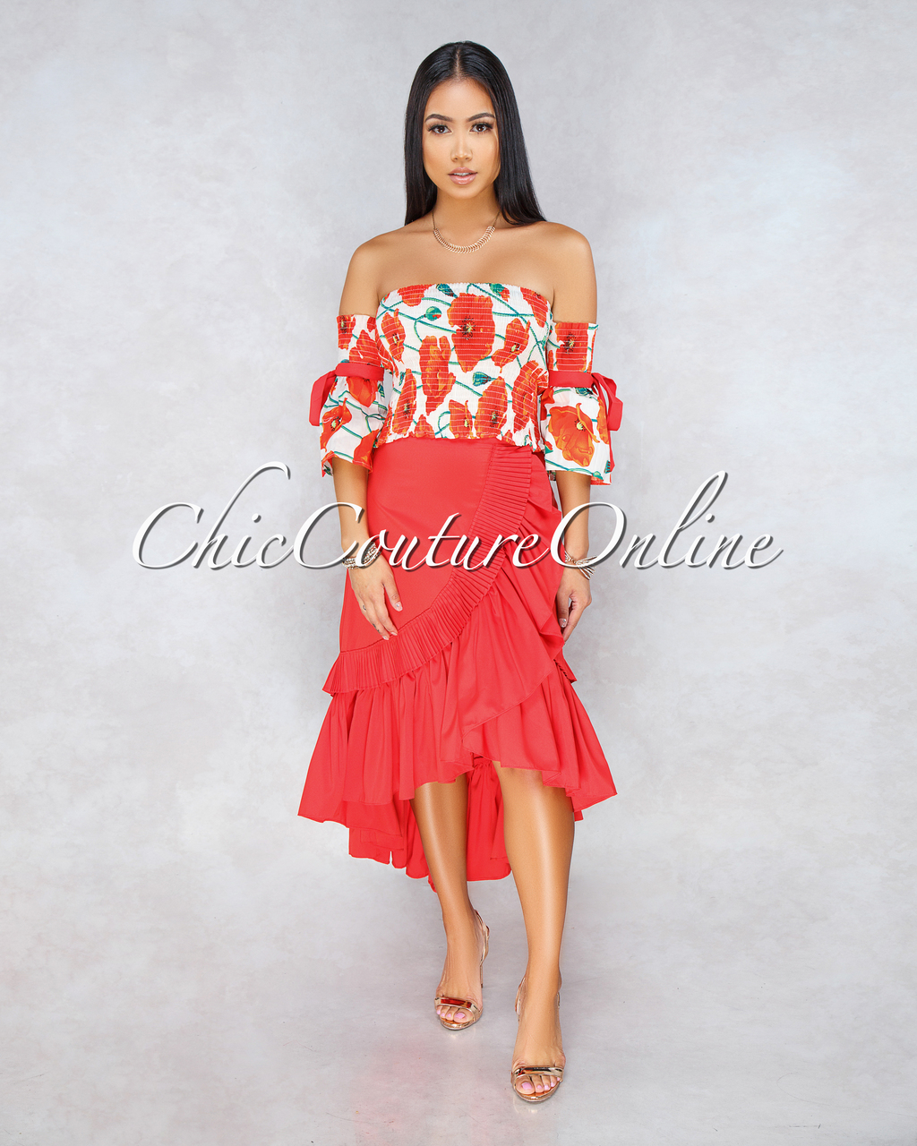 Latifa Red Floral Top Ruffle Skirt Two Piece Set