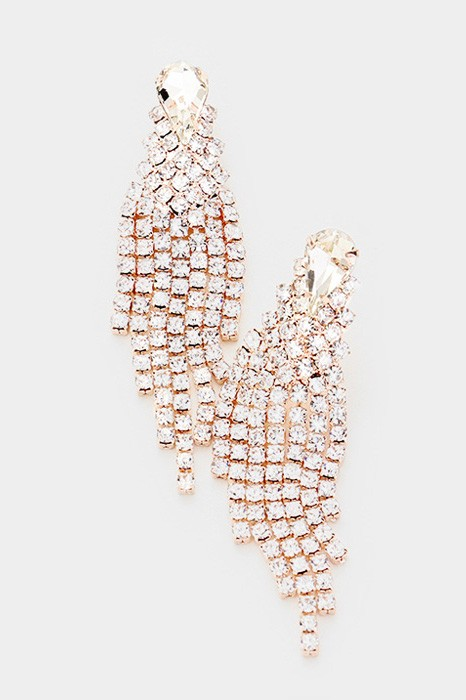 Blondy Rose Gold Pavé Teardrop Rhinestones Dangle Earrings