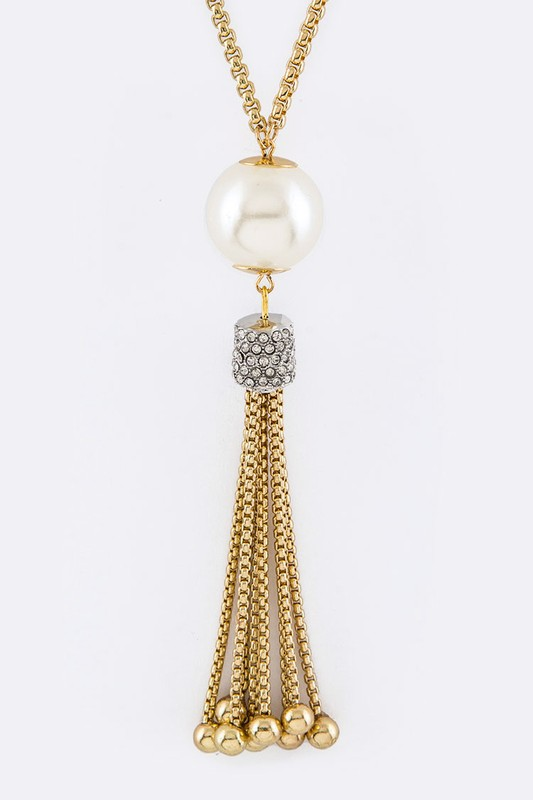 Medina Gold Pearl & Tassels Pendant Necklace