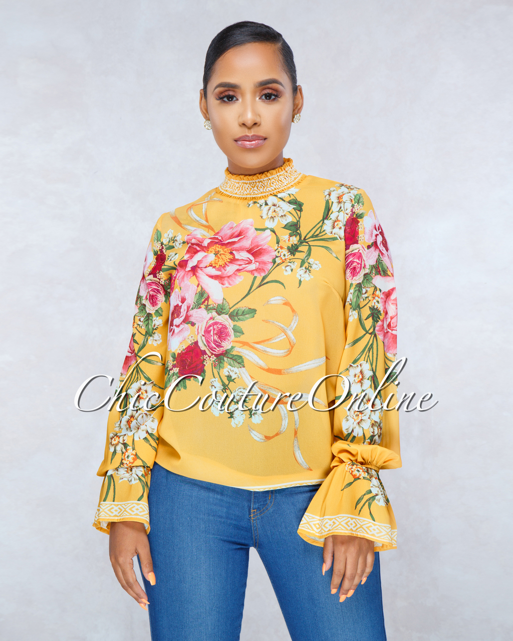 Edith Mustard Multi-Color Floral Print Top