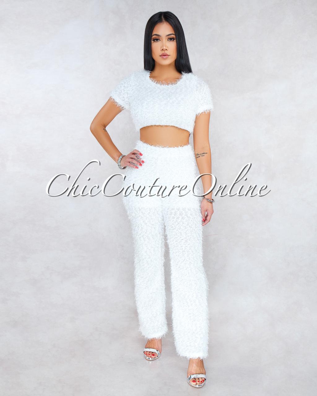 Sonda Off-White Faux Shimmer Fur Two Piece Set