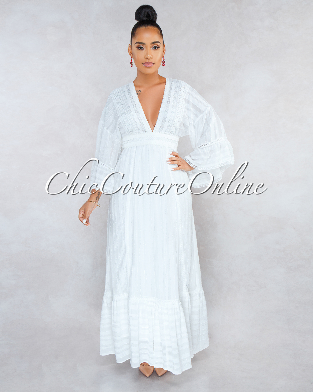 Montecarlo Off-White Crochet Ruffle Maxi Dress