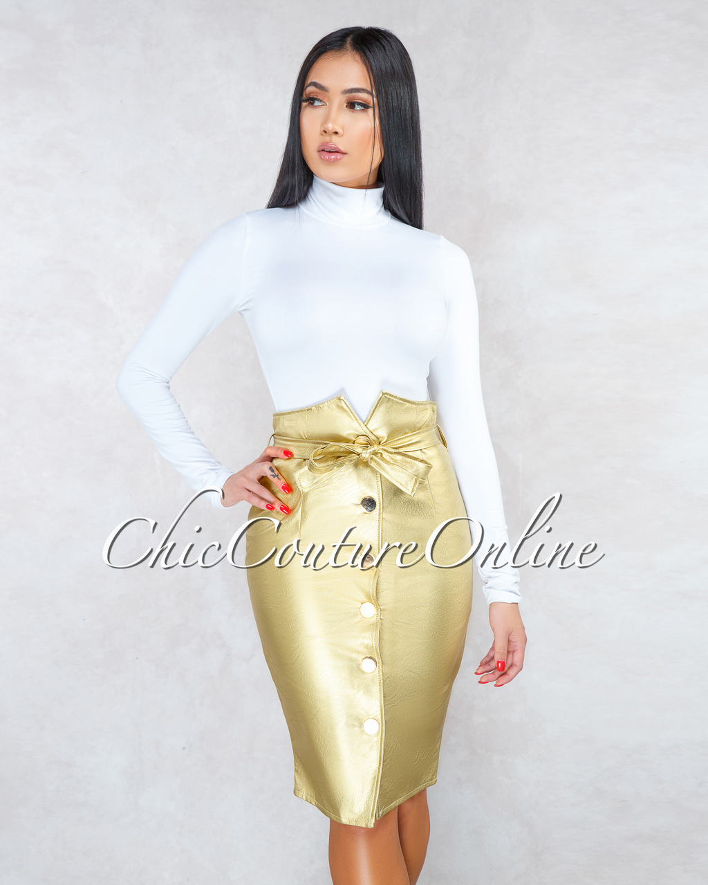Bardotte Gold Faux Leather Paper Bag Belted Skirt